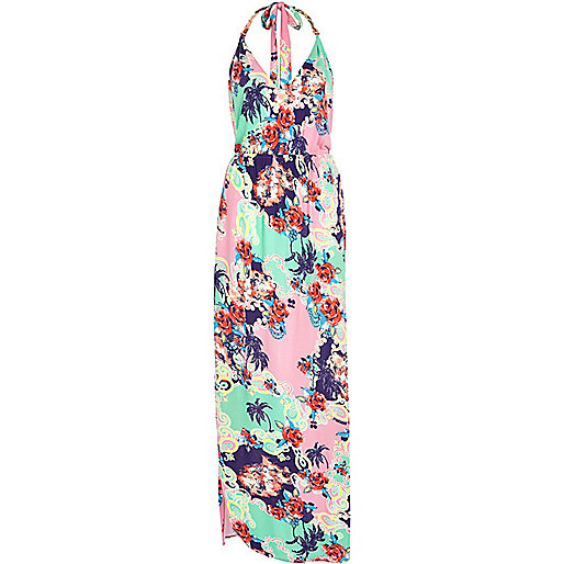 Blue Pacha scarf print halter maxi dress