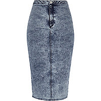 Mid acid wash denim tube skirt