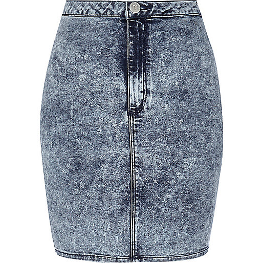 Mid acid wash mini tube skirt
