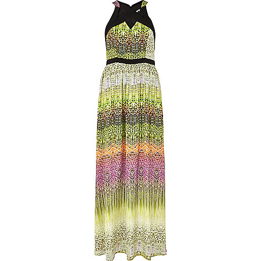 Lime abstract print cut out maxi dress