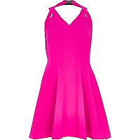 Bright pink strappy skater dress