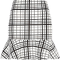 Black and white check fluted hem skirt
