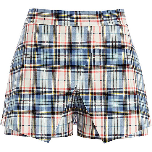 Light blue tartan smart skort