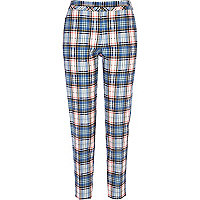 Light blue tartan slim cigarette pants