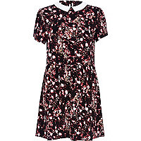 Black blurred rose print dress