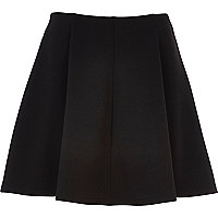 Black full jersey skater skirt