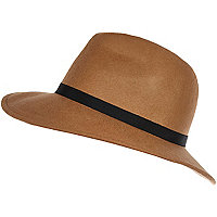 Camel ribbon trim fedora hat