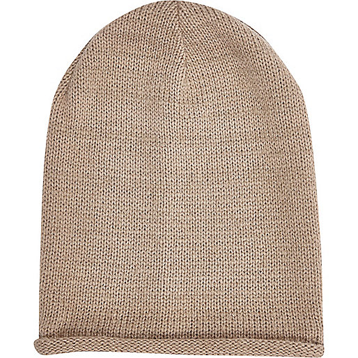 Beige rolled edge beanie hat