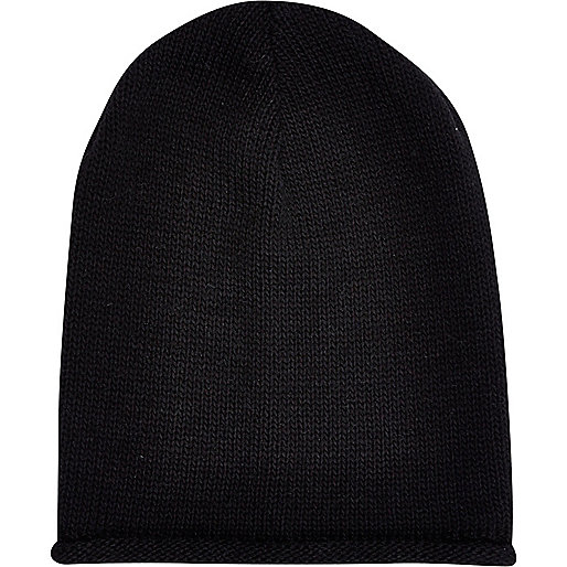 Black rolled edge beanie hat