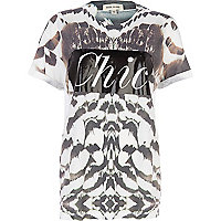 White tribal chic print oversized t-shirt