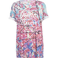 Pink Dream or Reality floral print t-shirt