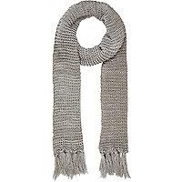 Grey open knit long scarf
