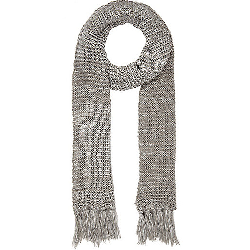 Grey open knit long scarf