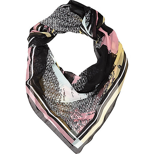 Cream abstract print square scarf