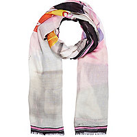 Pink lost in love print long scarf
