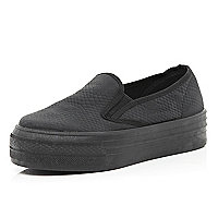 Black slip on flatform trainers