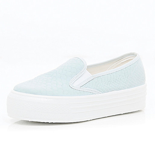 Light blue slip on flatform trainers