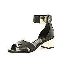 Black cross strap block heel sandals