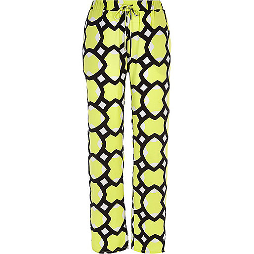 Lime geometric print slouch trousers