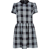 Black and white tartan skater dress