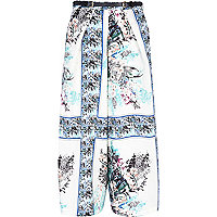 Blue floral scarf print wide crop trousers