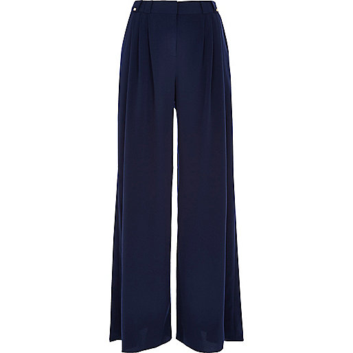Navy pleated wide leg trousers