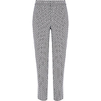 Black geometric jacquard slim cigarette pants