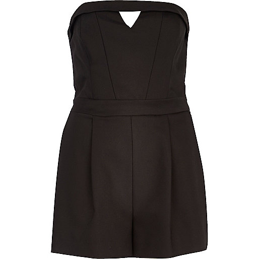 Black smart cut out bandeau playsuit
