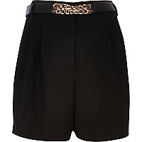 Black long smart high waisted shorts