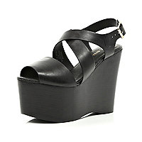 Black cross strap extreme flatforms