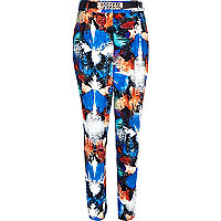 Blue splash print high waisted trousers
