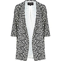 Cream abstract print duster jacket