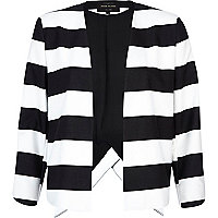 Black and white stripe wrap back jacket