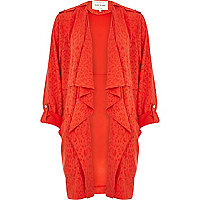 Orange animal jacquard waterfall jacket