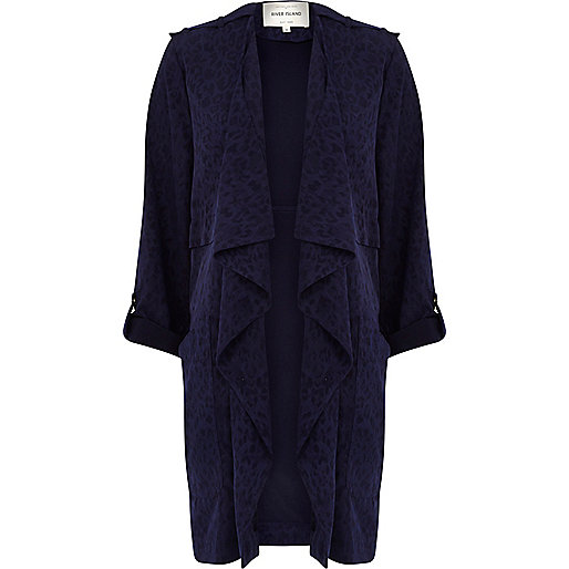 Navy animal jacquard waterfall jacket