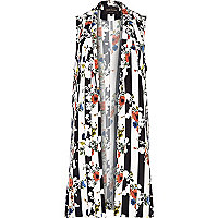 Black and white floral stripe gilet