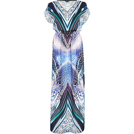 Blue abstract print maxi dress