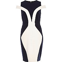 Navy colour block cold shoulder pencil dress