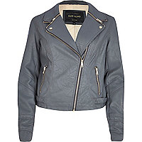 Dark grey zip collar biker jacket