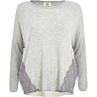 Grey chiffon back slouchy jumper