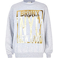Grey Bronx New York foil print sweatshirt