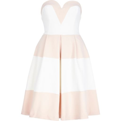 Pink and White Stripe Bandeau Prom Dress £80.00 from River Island