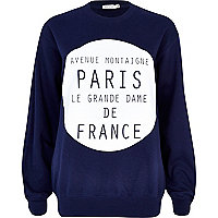 Navy Paris de France print sweatshirt