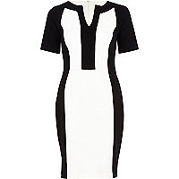 Black and white colour block pencil dress