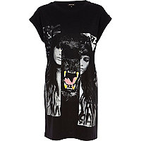 Black spliced girl and panther print t-shirt