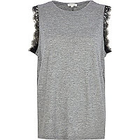 Grey eyelash lace sleeveless tank top