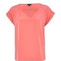 Bright pink V neck t-shirt