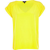 Bright yellow V neck t-shirt