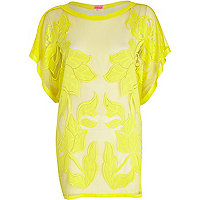 Yellow floral mesh tunic
