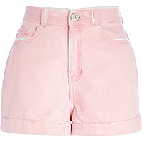 Pink high waisted denim shorts